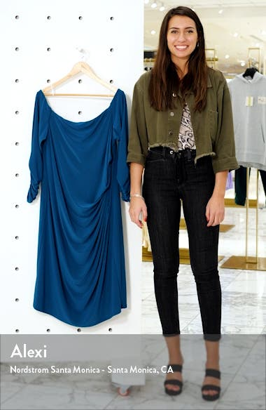 Off the Shoulder Long Sleeve Ruched Dress, sales video thumbnail