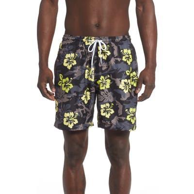 Trunks Surf & Swim Co. Sano Hibiscus Print Swim Trunks, Black