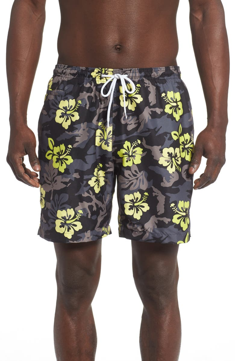TRUNKS SURF & SWIM CO. Sano Hibiscus Print Swim Trunks, Main, color, BLACK