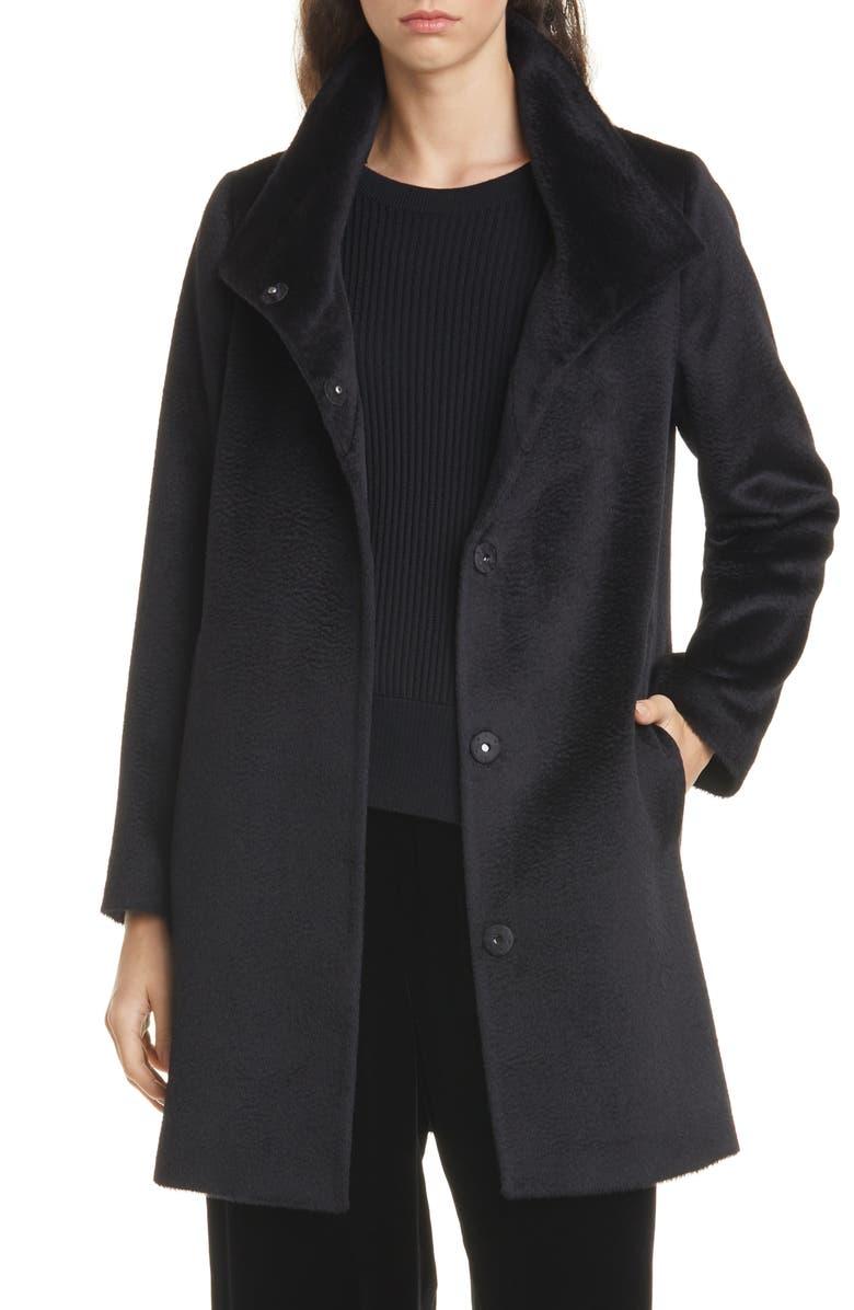 EILEEN FISHER High Collar Wool & Alpaca Blend Coat, Main, color, 001