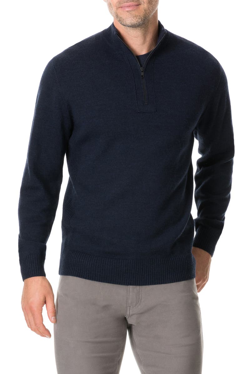 RODD & GUNN Junction Traceable Wool Quarter Zip Sweater, Main, color, TWILIGHT