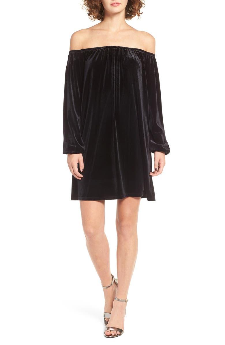 ONE CLOTHING Off the Shoulder Velvet Swing Dress, Main, color, BLACK