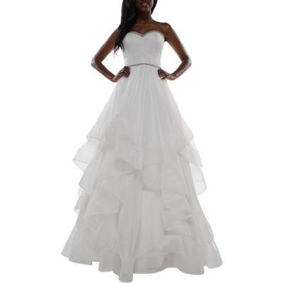 Colors Dress Tiered Mesh Strapless Ballgown, Ivory