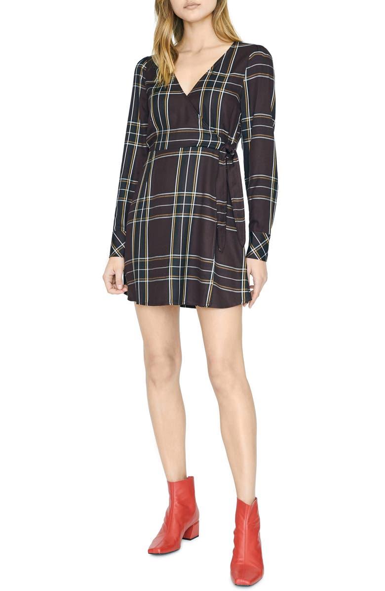 SANCTUARY Sancturay Upbeat Plaid Long Sleeve Wrap Dress, Main, color, NEW ROMANTIC PLAID