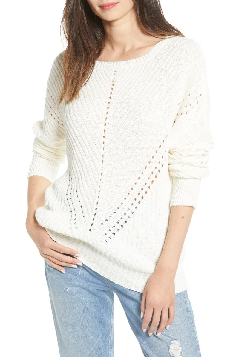 NOISY MAY Blake Pointelle Sweater, Main, color, SUGAR SWIZZLE