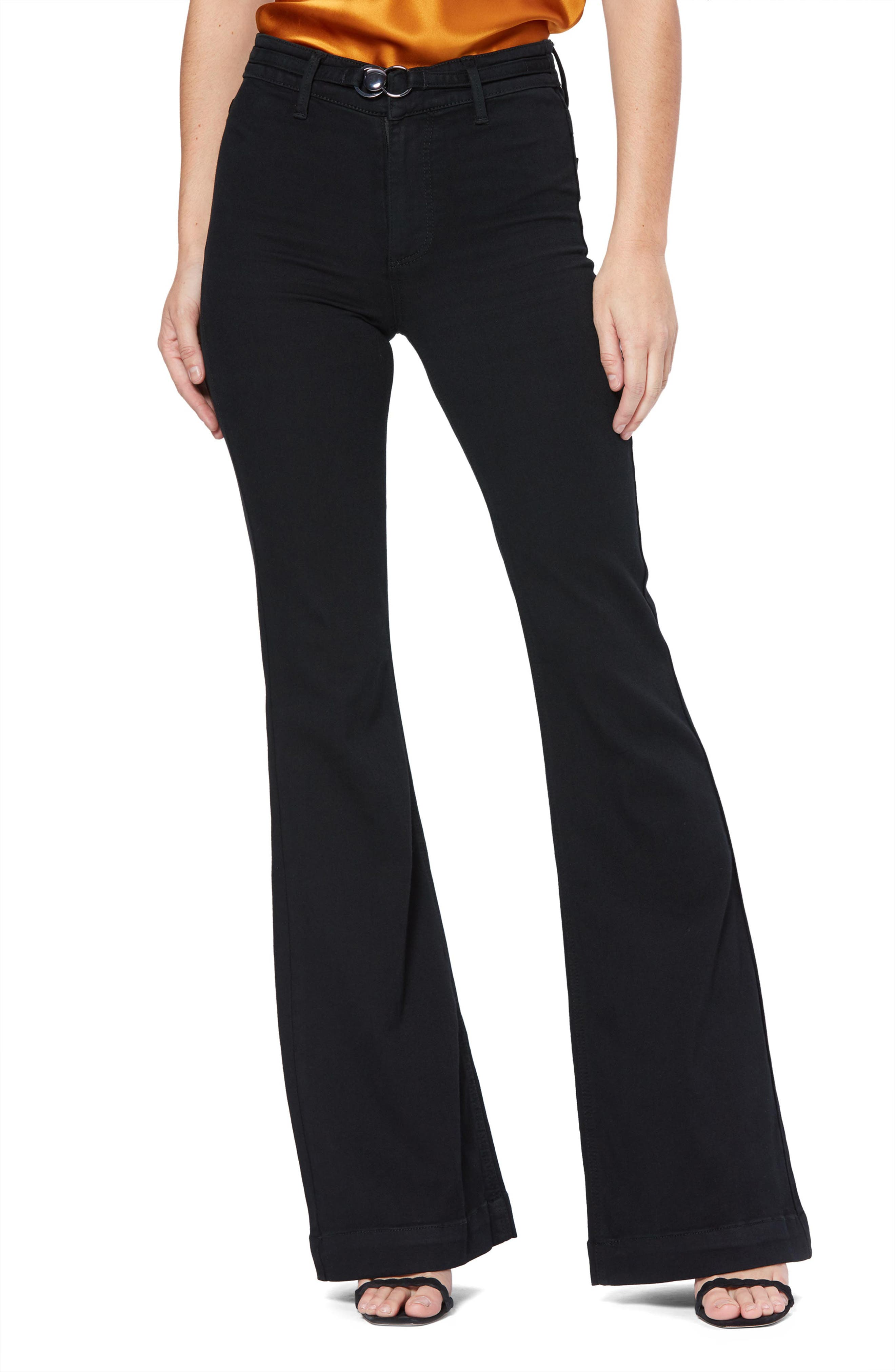 Women's Paige Transcend Genevieve High Rise Buckle Flare Jeans