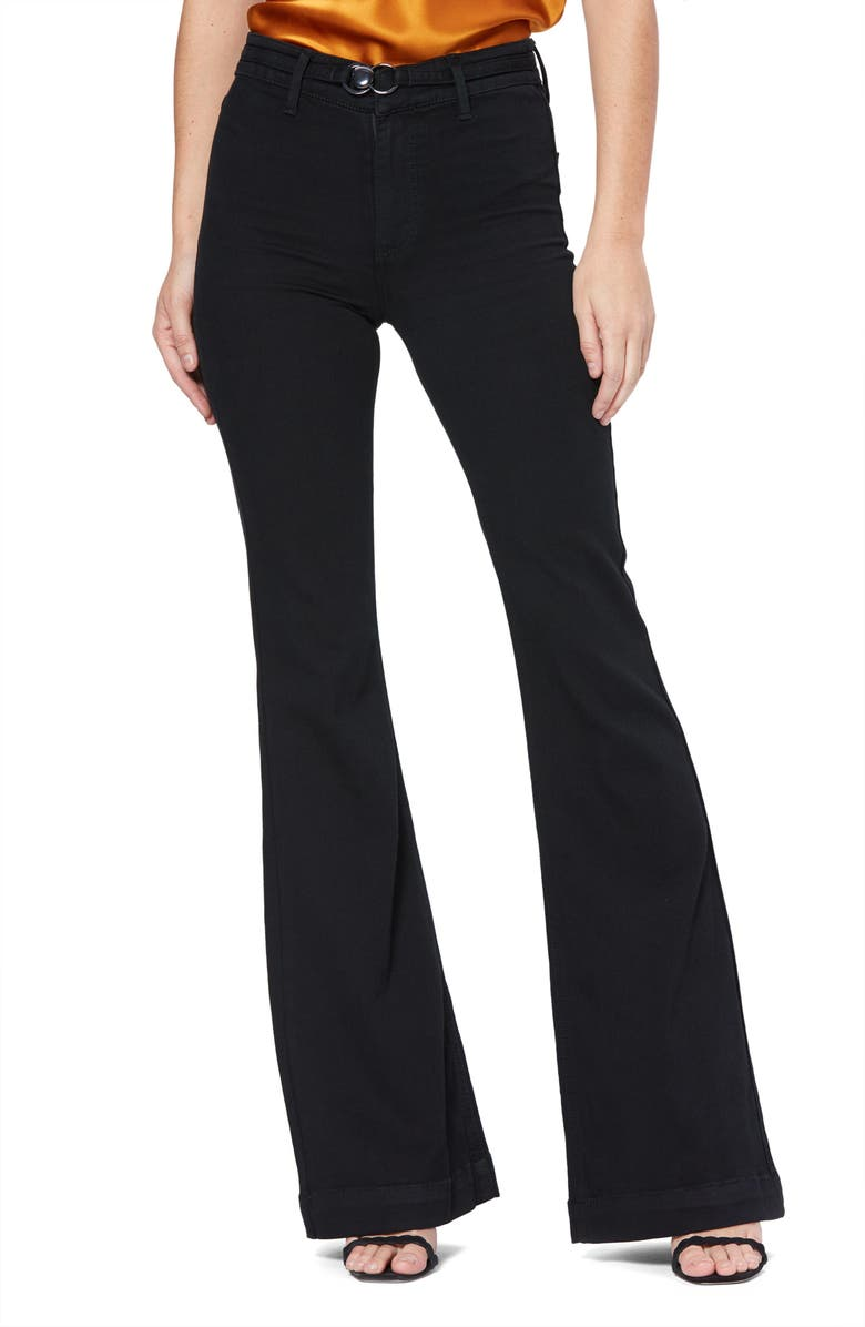 PAIGE Transcend Genevieve High Rise Buckle Flare Jeans, Main, color, BLACK SHADOW