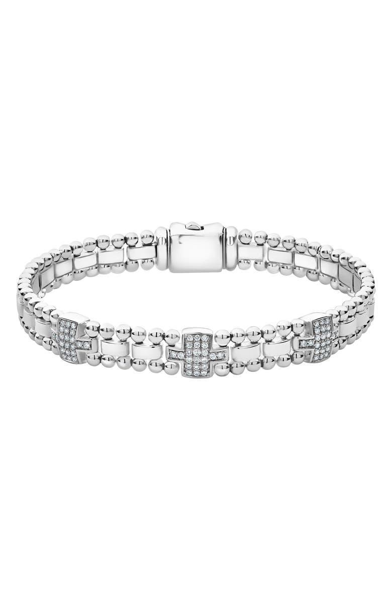 LAGOS Caviar Spark Diamond Station Bracelet, Main, color, SILVER/ DIAMOND