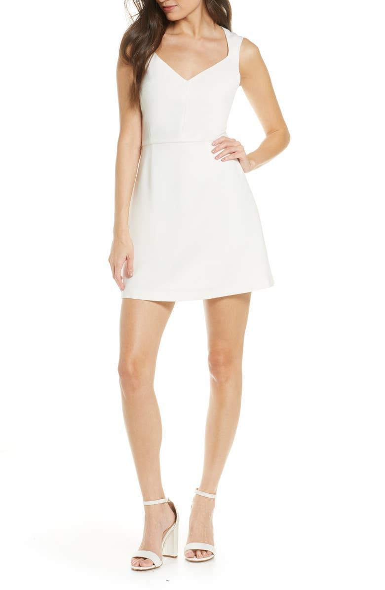 FRENCH CONNECTION Whisper Sleeveless Fit & Flare Dress, Main, color, SUMMER WHITE