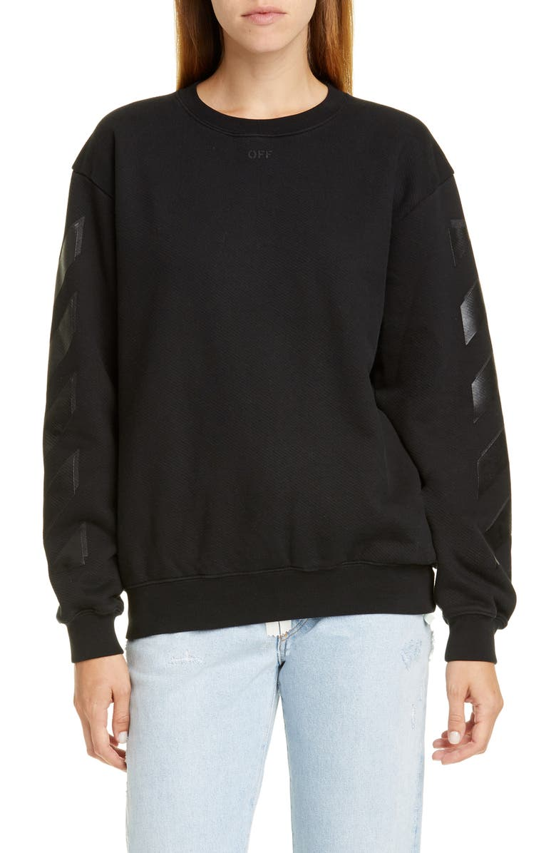 OFF-WHITE Diagonal Crewneck Sweatshirt, Main, color, BLACK