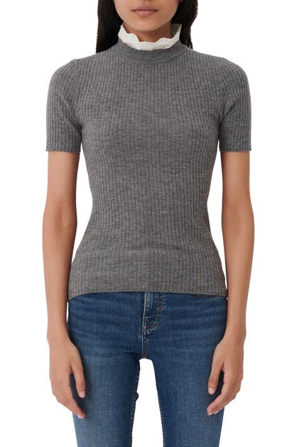 Maje Knits EMBROIDERED COLLAR SHORT SLEEVE WOOL SWEATER