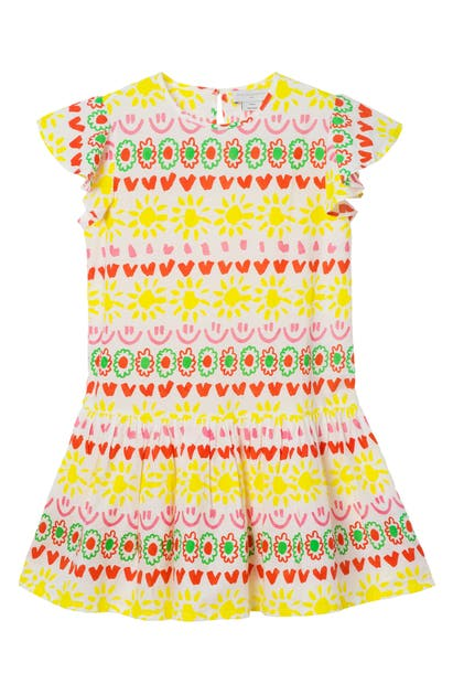 STELLA MCCARTNEY KIDS' HAPPY STRIPES COTTON DRESS
