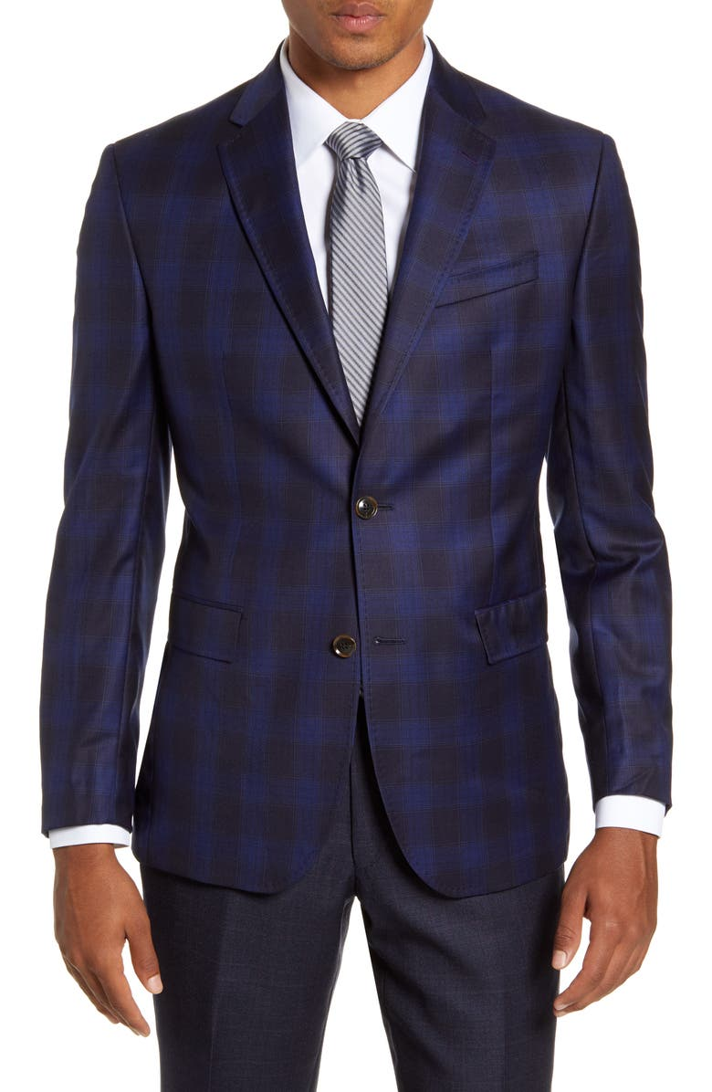 TED BAKER LONDON Jay Trim Fit Check Wool Sport Coat, Main, color, BLUE