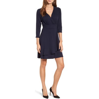 Karen Kane Wrap Style Drape Front Dress, Blue