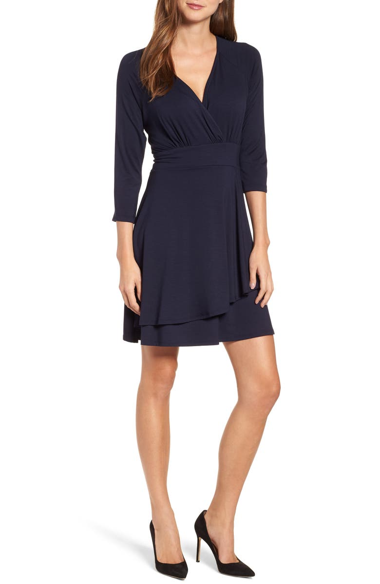 KAREN KANE Wrap Style Drape Front Dress, Main, color, NAVY