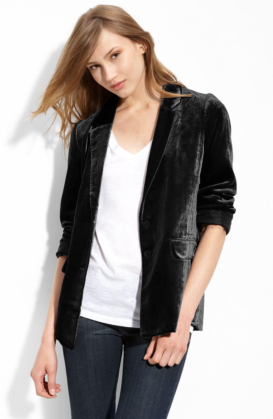'Liquid Velvet' Jacket, Main, color, 001