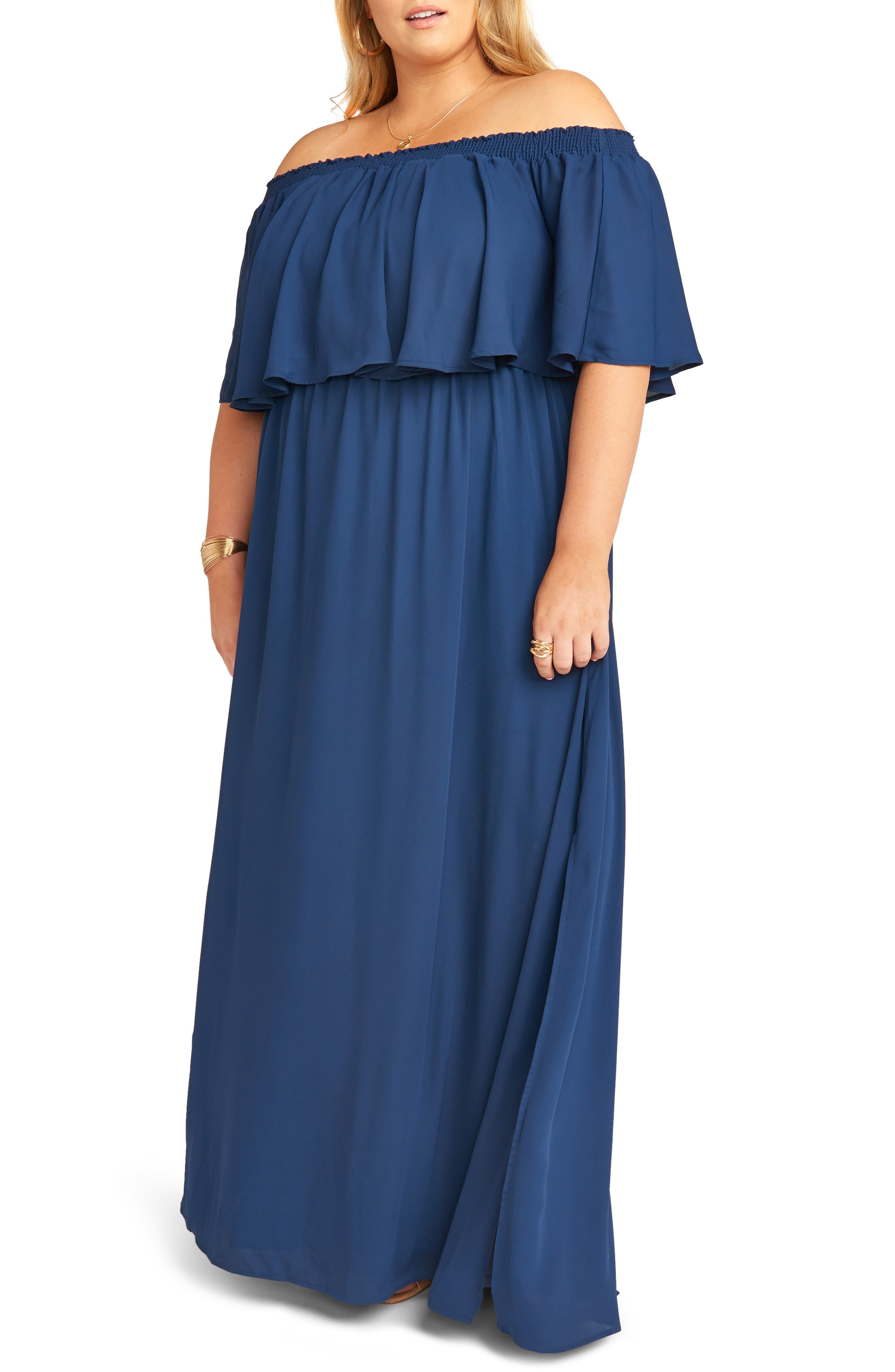 70s Dresses – Disco Dress, Hippie Dress, Wrap Dress Plus Size Womens Show Me Your Mumu Hacienda Off The Shoulder Ruffle Evening Dress Size 1X - Blue $172.00 AT vintagedancer.com