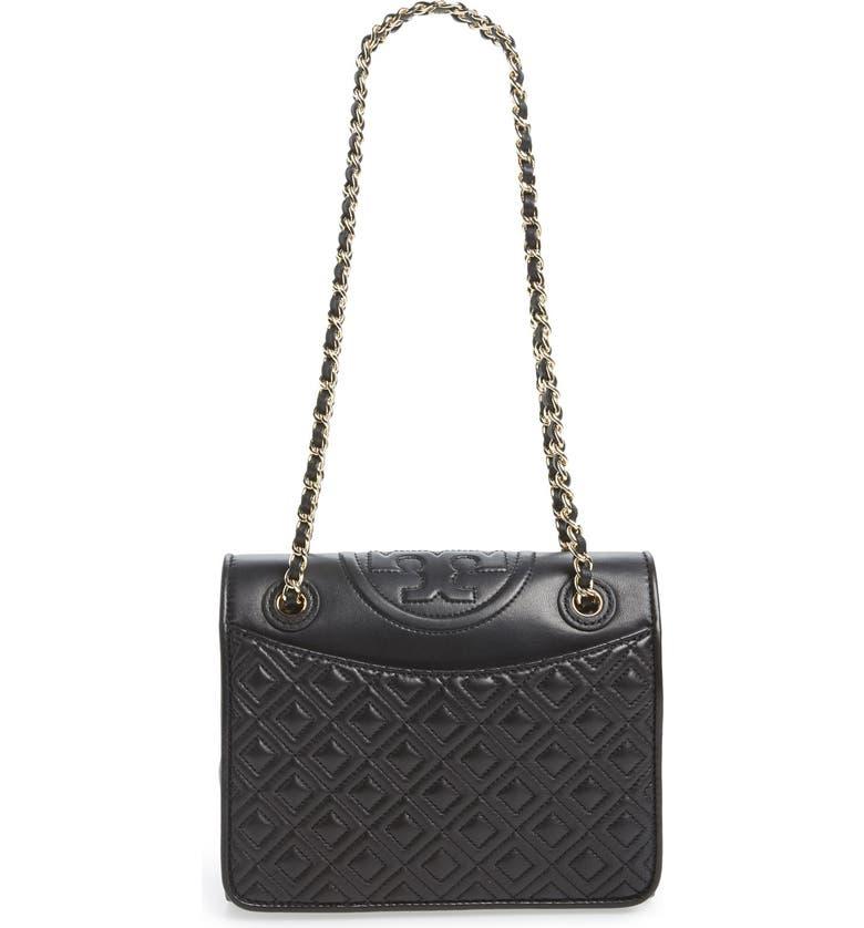 TORY BURCH 'Medium Fleming' Leather Shoulder Bag, Main, color, Black