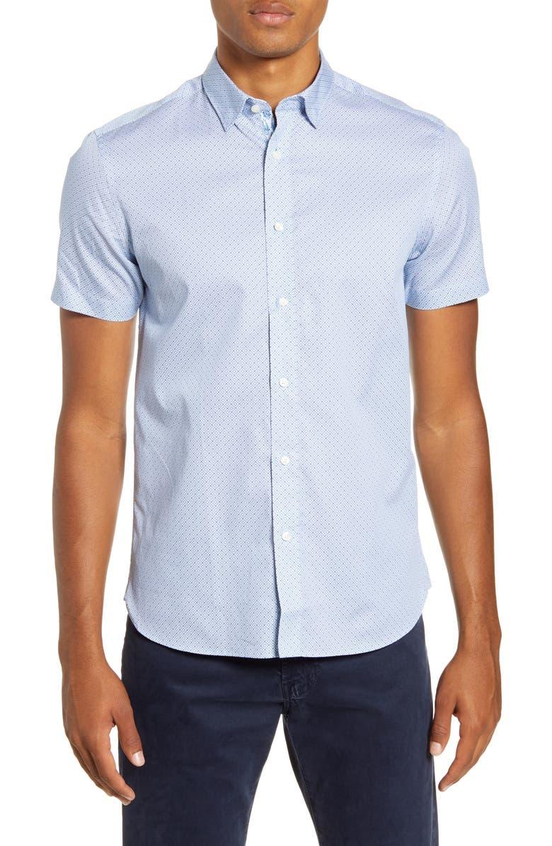 TED BAKER LONDON Hidraga Slim Fit Diamond Short Sleeve Button-Up Sport Shirt, Main, color, LIGHT BLUE