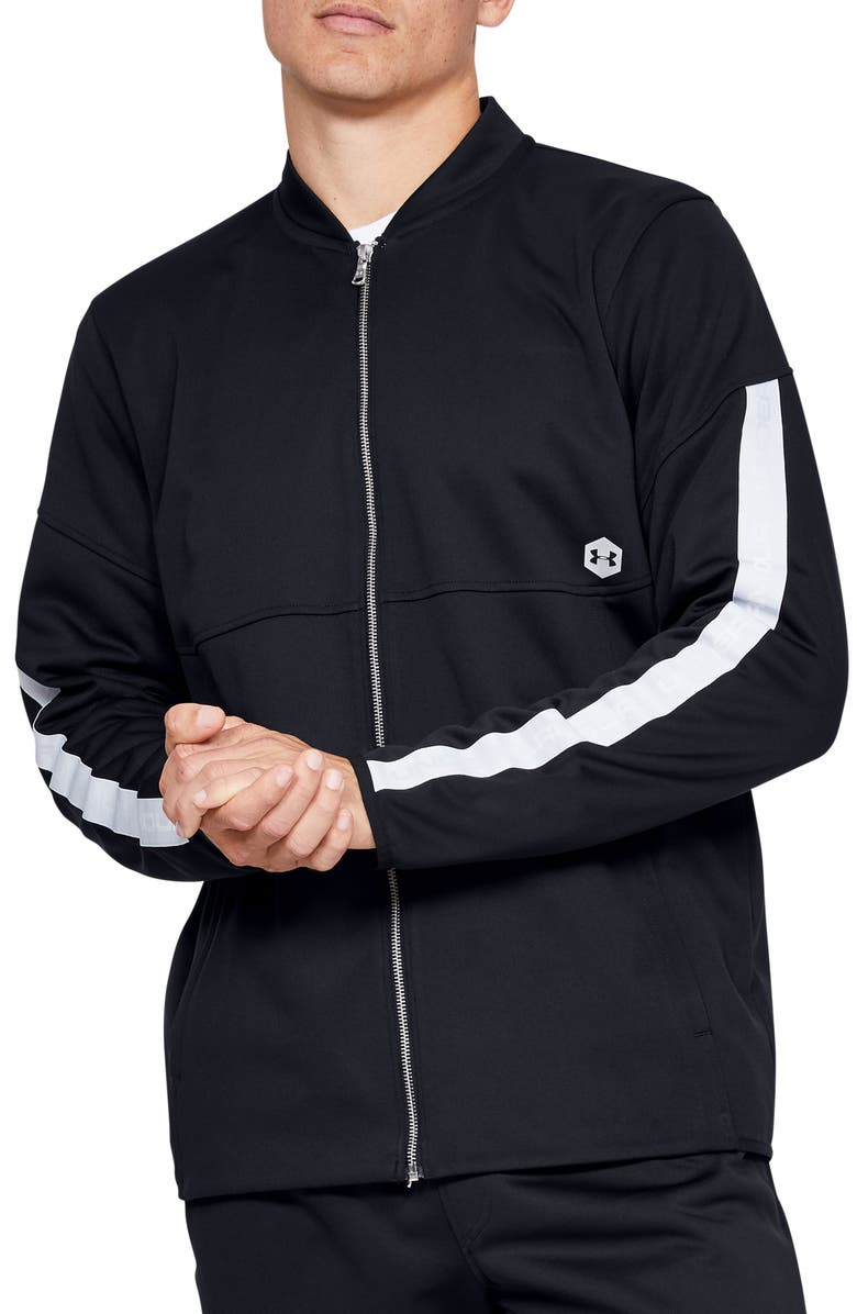 UNDER ARMOUR Athlete Recovery Warm-Up Jacket, Main, color, BLACK/ BLACK/ METALLIC SILVER
