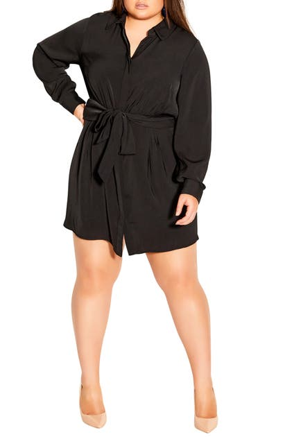 City Chic TIE WAIST LONG SLEEVE SHIRTDRESS