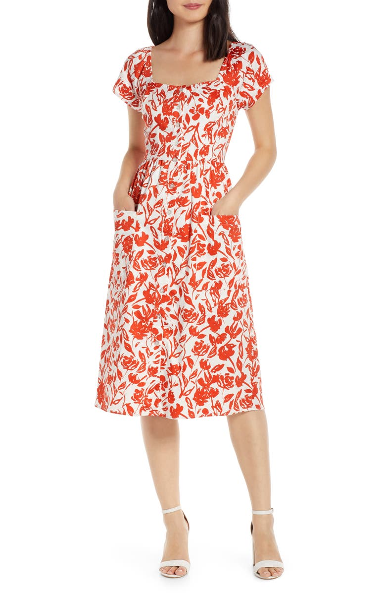 CHARLES HENRY Floral Button Front Dress, Main, color, IVORY-TOMATO