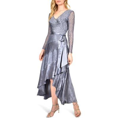 Komarov Long Sleeve Charmeuse & Chiffon Maxi Dress, Purple