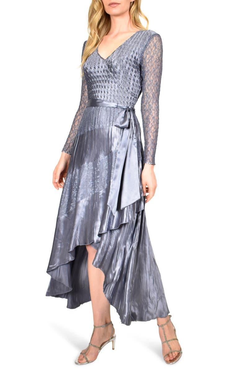 KOMAROV Long Sleeve Charmeuse & Chiffon Maxi Dress, Main, color, PURPLE SAGE