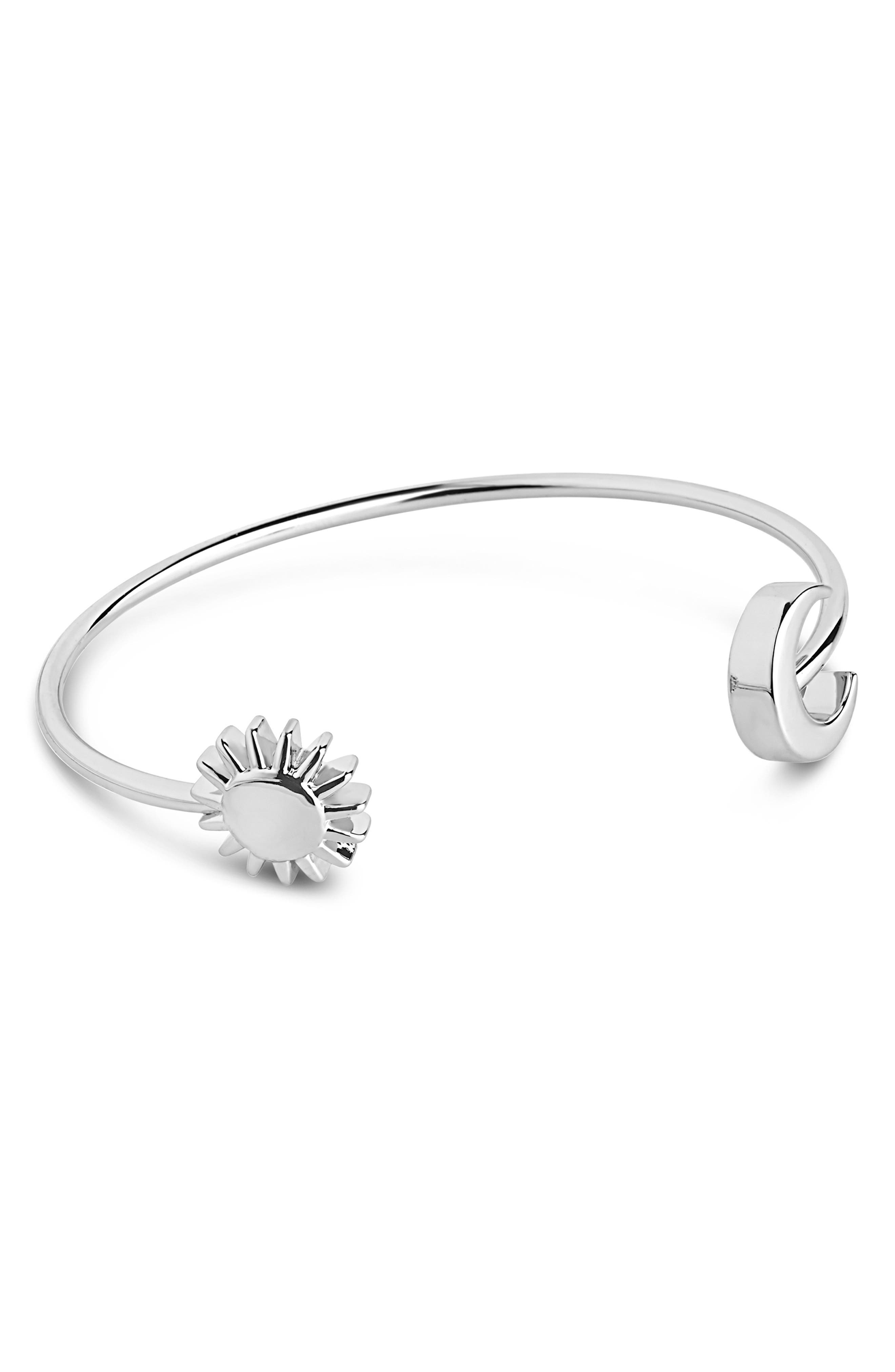 This slim rhodium-plated cuff will gleam on your wrist from morning \\\'til night. Style Name: Sterling Forever Crescent Moon & Sun Cuff Bracelet. Style Number: 5845461. Available in stores.