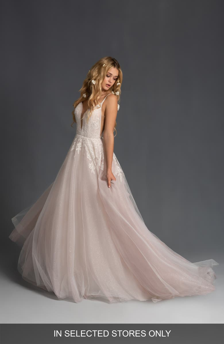 BLUSH BY HAYLEY PAIGE Fiona Tulle Ballgown Wedding Dress, Main, color, IVORY