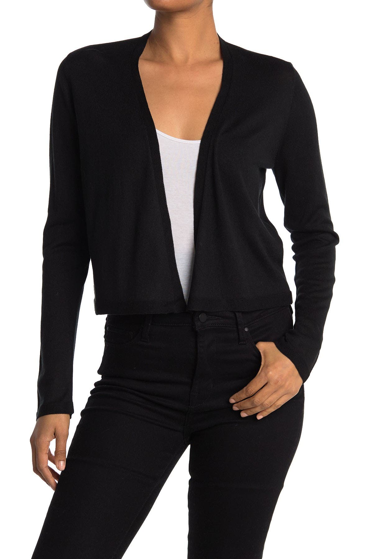 Image of Eileen Fisher Open Front Silk Blend Crop Cardigan