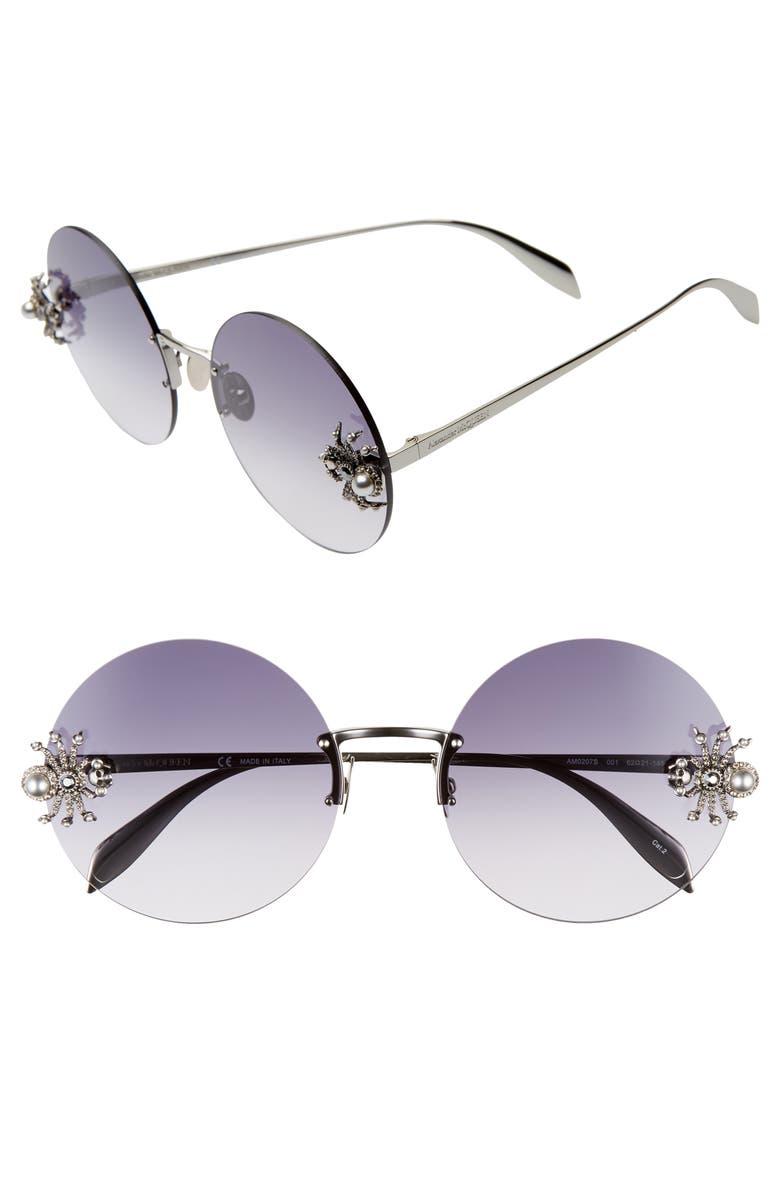 ALEXANDER MCQUEEN 62mm Oversize Rimless Round Sunglasses, Main, color, RUTHENIUM/ GREY