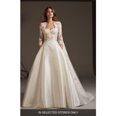 Pronovias Phoenicia Lace & Mikado A-Line Wedding Dress, Size - Ivory