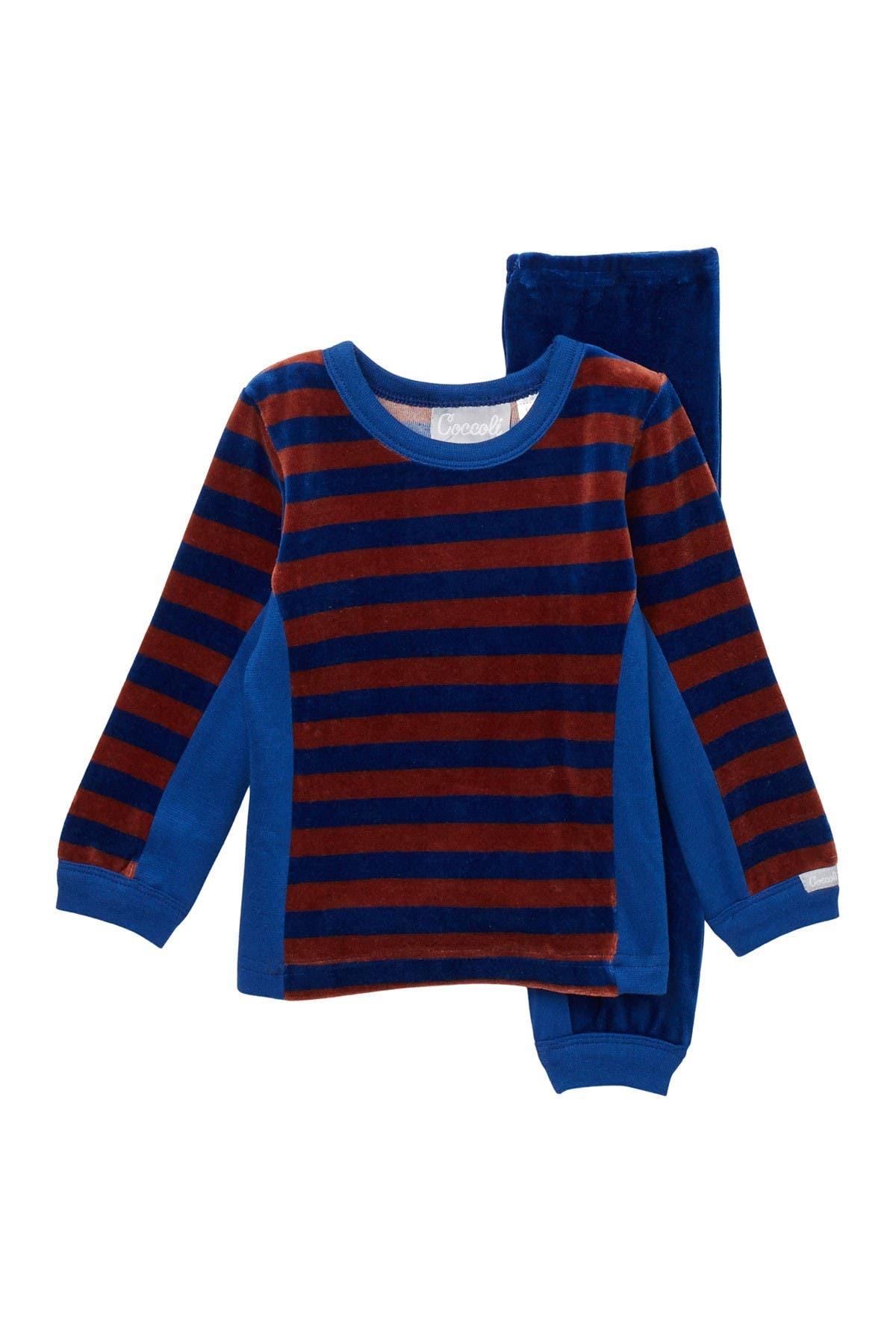 Image of Coccoli Striped Velour Long Sleeve Top & Pants Pajama Set