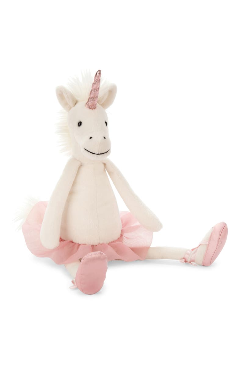 JELLYCAT Dancing Darcy Unicorn Stuffed Animal, Main, color, CREAM / PINK