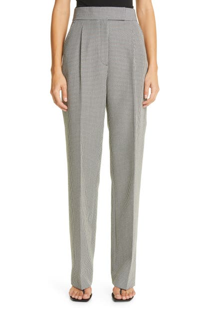 Alexander Wang HOUNDSTOOTH PLEATED HIGH WAIST WOOL BLEND PANTS
