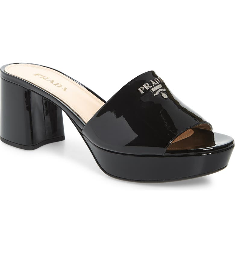 PRADA Platform Slide Sandal, Main, color, BLACK PATENT