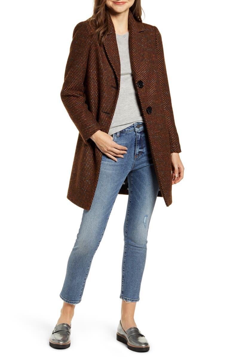 SAM EDELMAN Rib Tweed Car Coat, Main, color, BRN/ BLK STRIPE