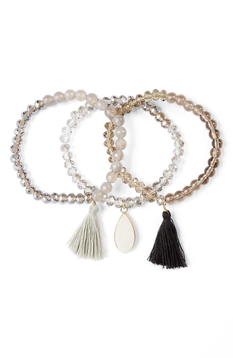 PANACEA Set of 3 Stretch Bracelets, Main, color, 020