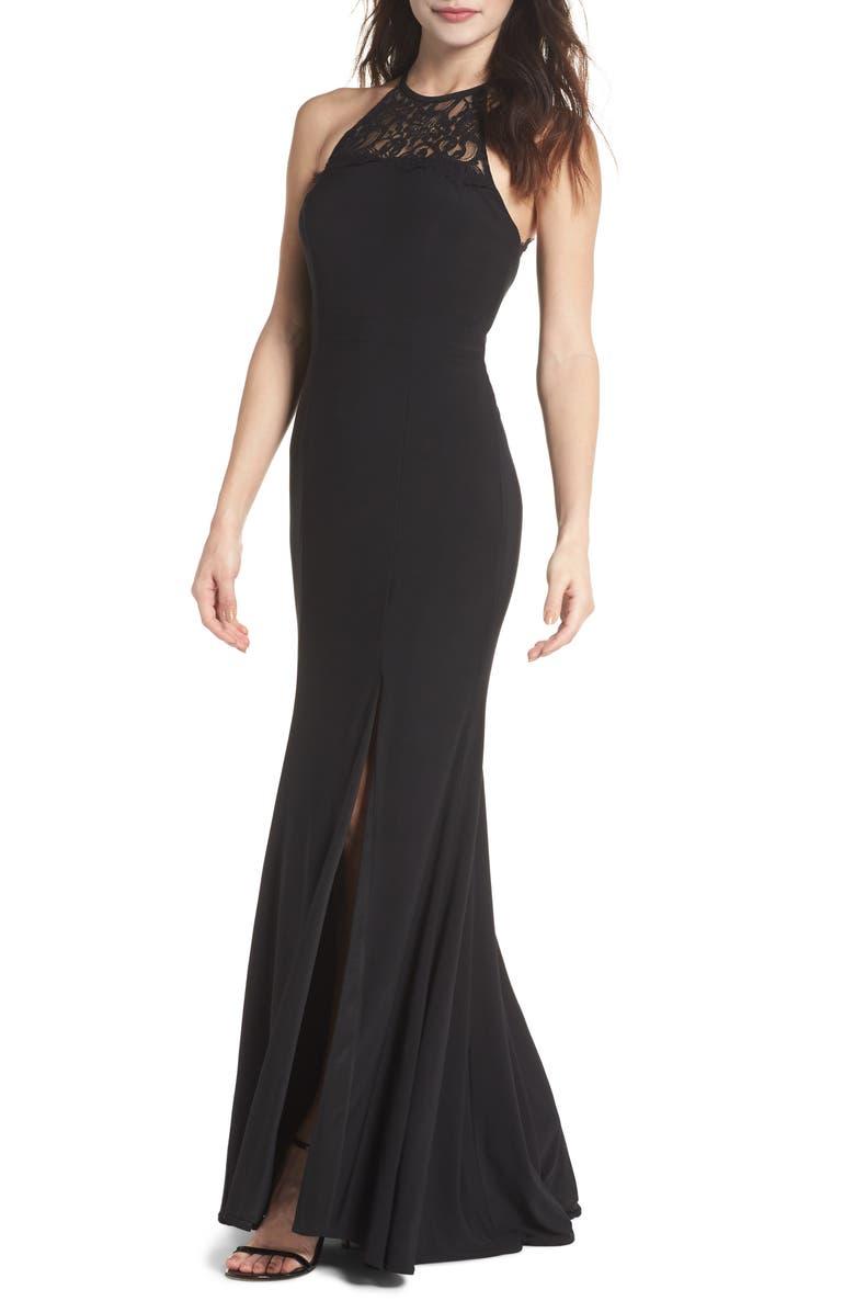 XSCAPE Lace Neck Halter Gown, Main, color, Black