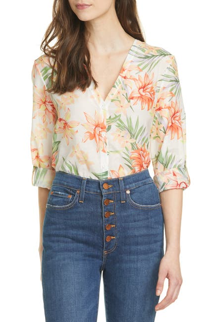 Image of Alice + Olivia Colby Floral Print Cotton & Silk Blouse
