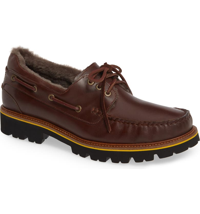 SAMUEL HUBBARD Early Winter Genuine Shearling Boat Shoe, Main, color, REDWOOD/BLACK LEATHER