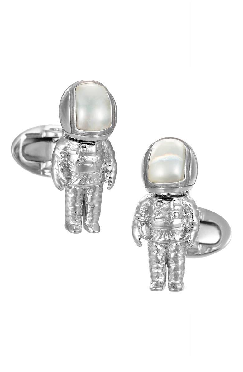 JAN LESLIE Astronaut Cuff Links, Main, color, SILVER
