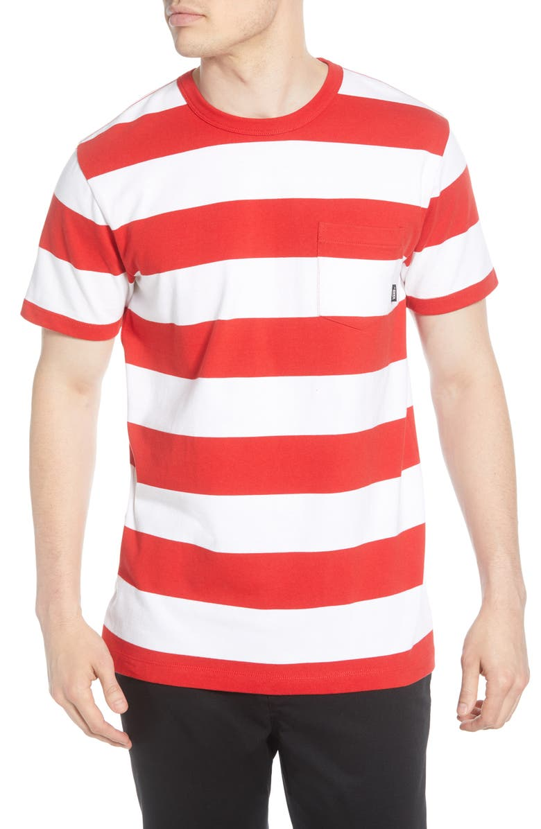 VANS Anaheim Issue Stripe Pocket T-Shirt, Main, color, WHITE/ RACING RED