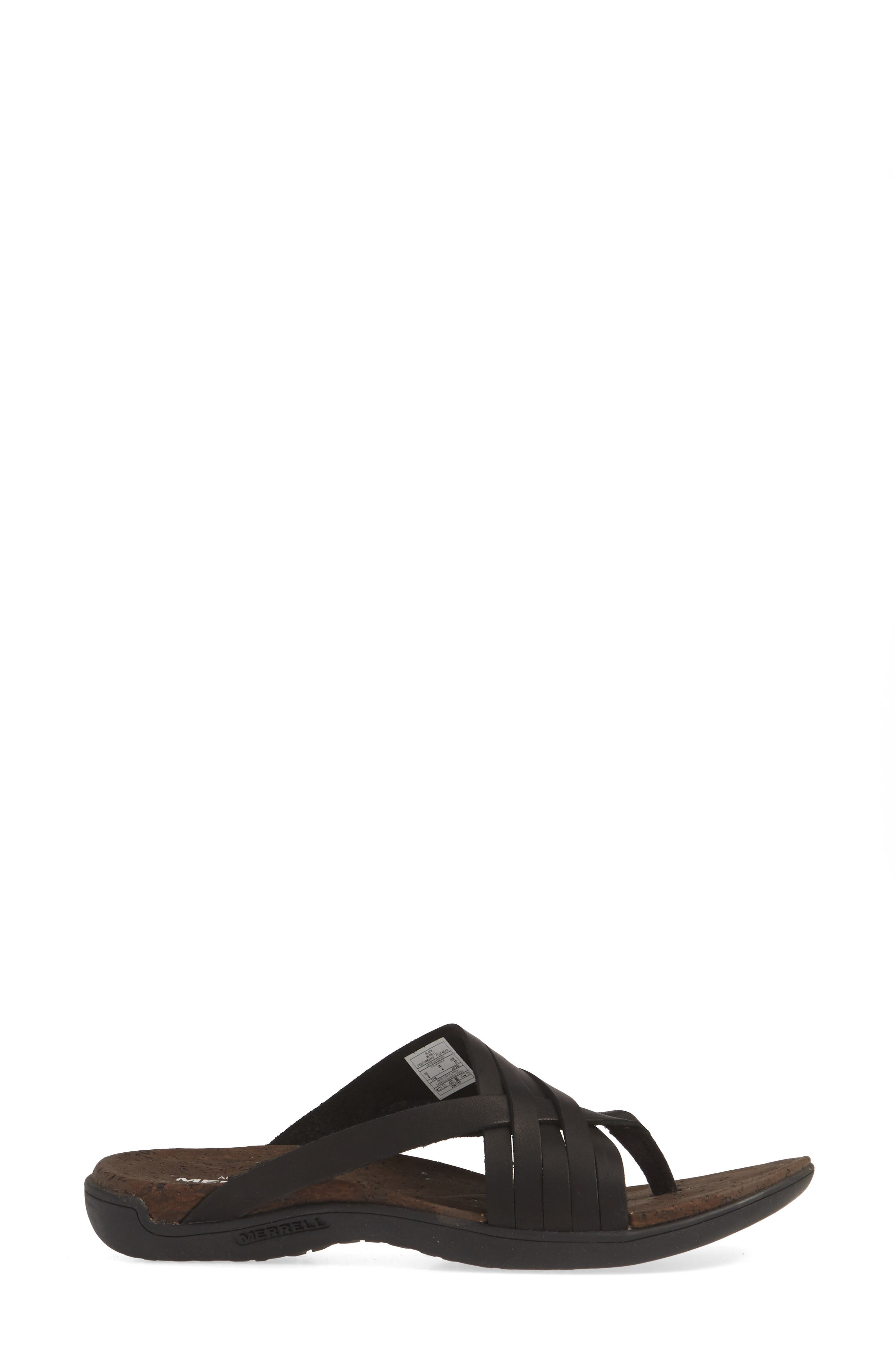,                             District Mahana Flip Flop,                             Alternate thumbnail 3, color,                             BLACK LEATHER