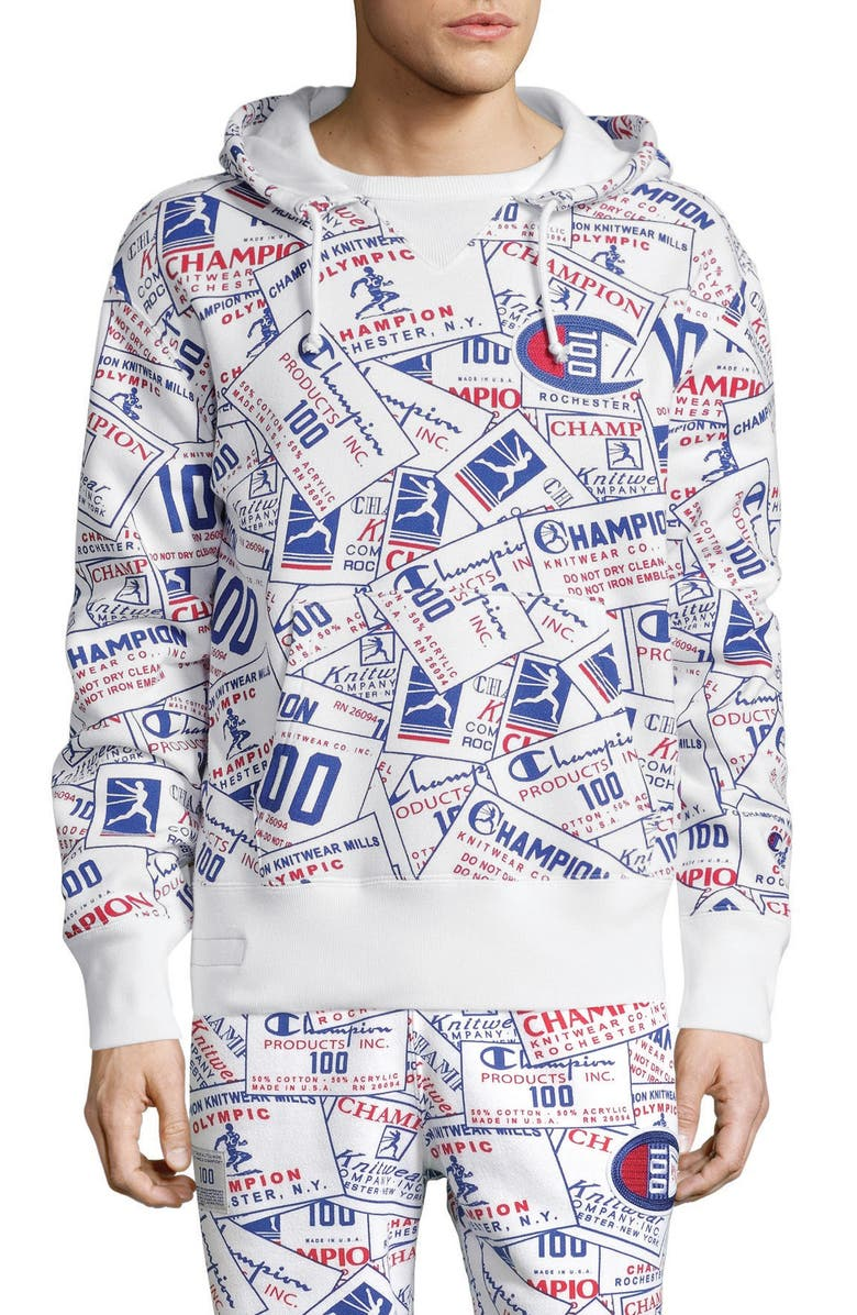 CHAMPION Century Collection Tag Hooded Sweatshirt, Main, color, SCATTER WHITE