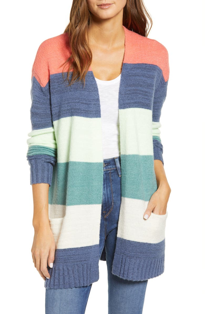 CASLON<SUP>®</SUP> Open Front Pocket Cardigan, Main, color, CORAL MULTI TARA STRIPE