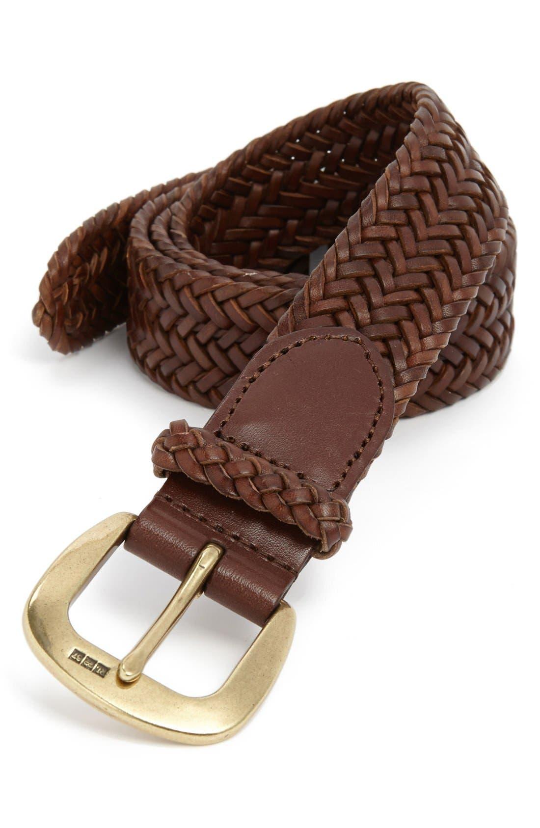 ,                             Leather Belt,                             Main thumbnail 1, color,                             201