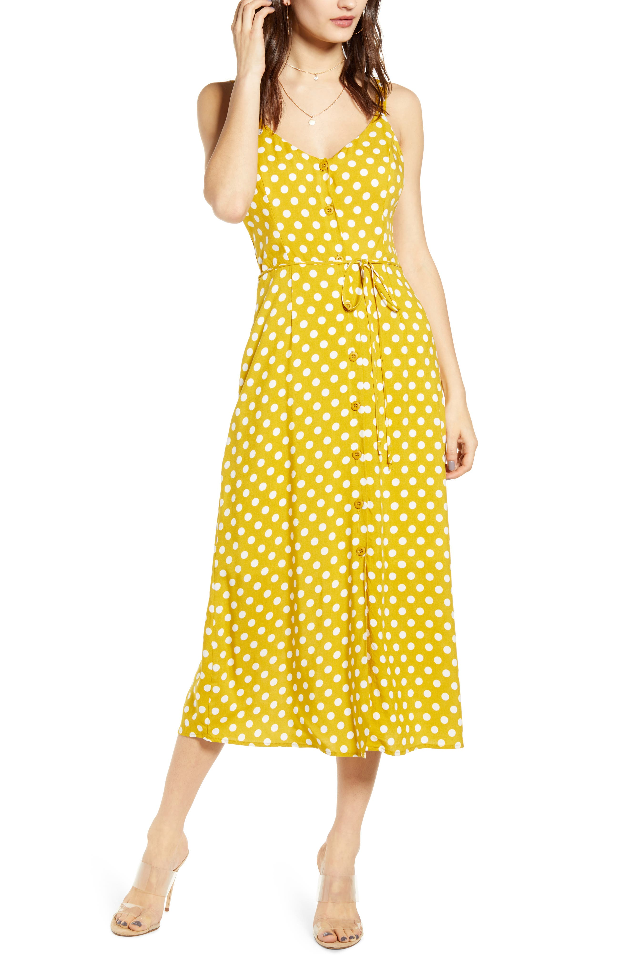 All In Favor Button Front Midi Sundress, Yellow