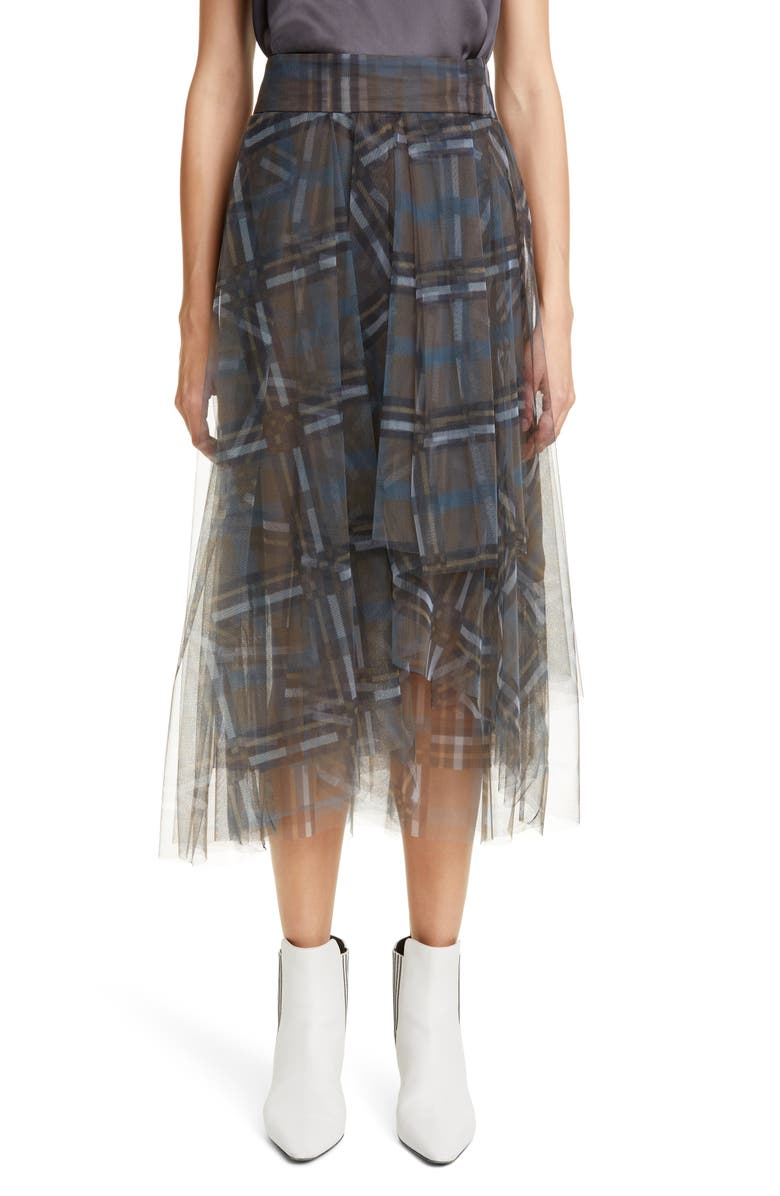 BRUNELLO CUCINELLI Check Print Tulle Midi Skirt, Main, color, LAGOON BRASS